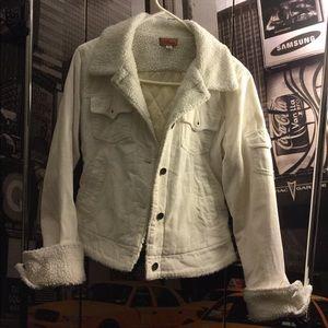 adriana usa Jackets & Coats - White corduroy w/wool collar jacket.